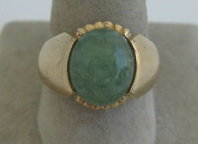 Vintage 10K Yellow Gold Jade Green Mens Ring High Mount Art Deco Band