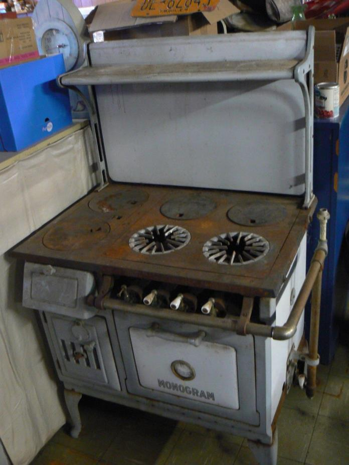Vintage antique monogram kitchen wood gas stove cast-iron enamel