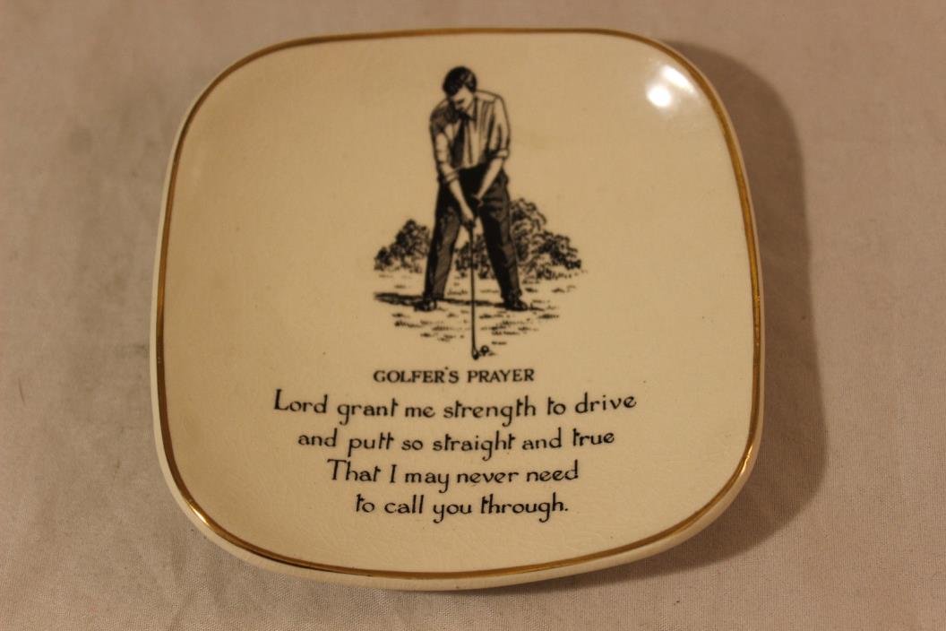 Sandland Hanley Staffordshire Golfer's Prayer Small Tray Made in England