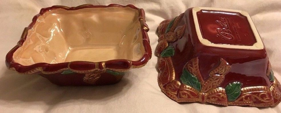 2 BELAE BRANDS IRIDESCENT POTTERY CANDY DISH BOWLS Burgundy Christmas