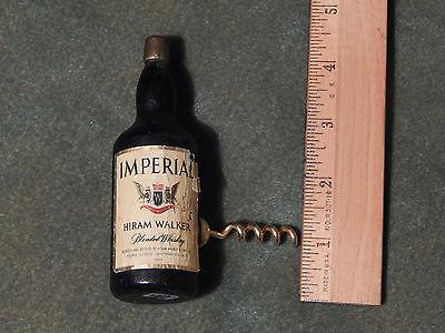 Imperial Hiram Walker Blended Whiskey (Vtg.) Mid-Century Wood/Brass CorkScrew