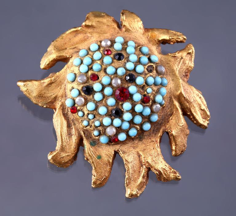 Unique Antique Handmade Sun Brooch Lapel Pin Trombone Clasp VTG Estate Jewelry