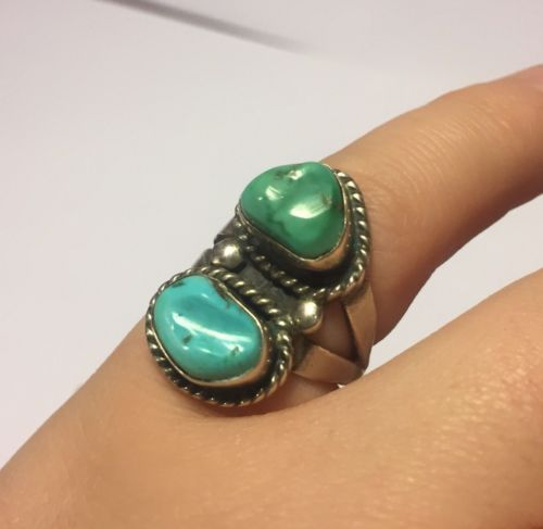 Vintage Sterling Silver & Double Turquoise Ring