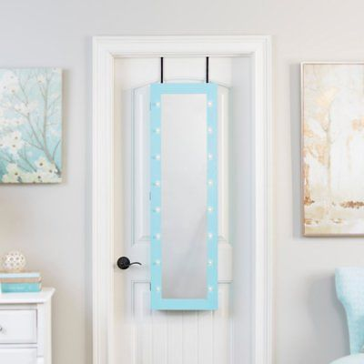 Innerspace Mirrored Jewelry Armoire with LED Lights, Turquoise