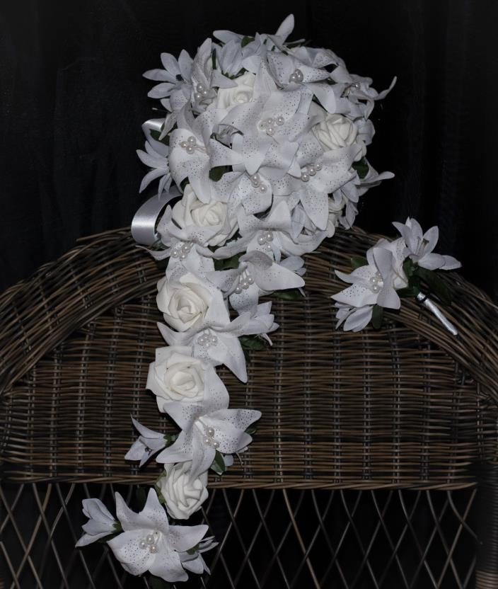 Cascade Teardrop White Real Touch Lily and Rose Wedding Bouquet 23
