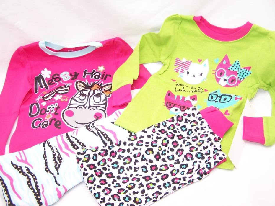Zebra 4 PC Toddler Girl Cotton Tight Fit Shirt Pants Pajama Set 3T  PJ Kitty