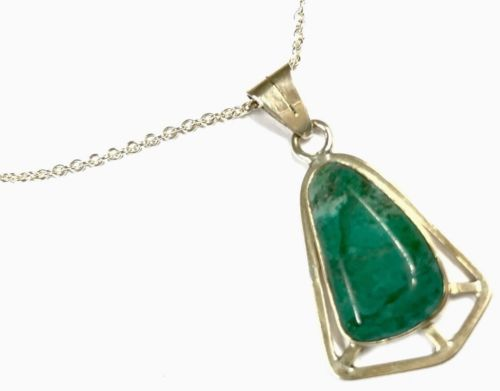 "Vintage Sterling Silver Green Agate Made In Israel Pendant 16"" Chain Necklace"