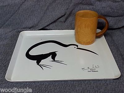 Vintage AUSTRALIA MADE BAMBOO WOOD MUG TIKI BAR WEISS NEW ZEALAND KIWI TRAY