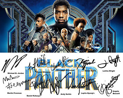 Black Panther Chadwick Boseman Cast Signed Movie Promo Photo Autograph Reprint
