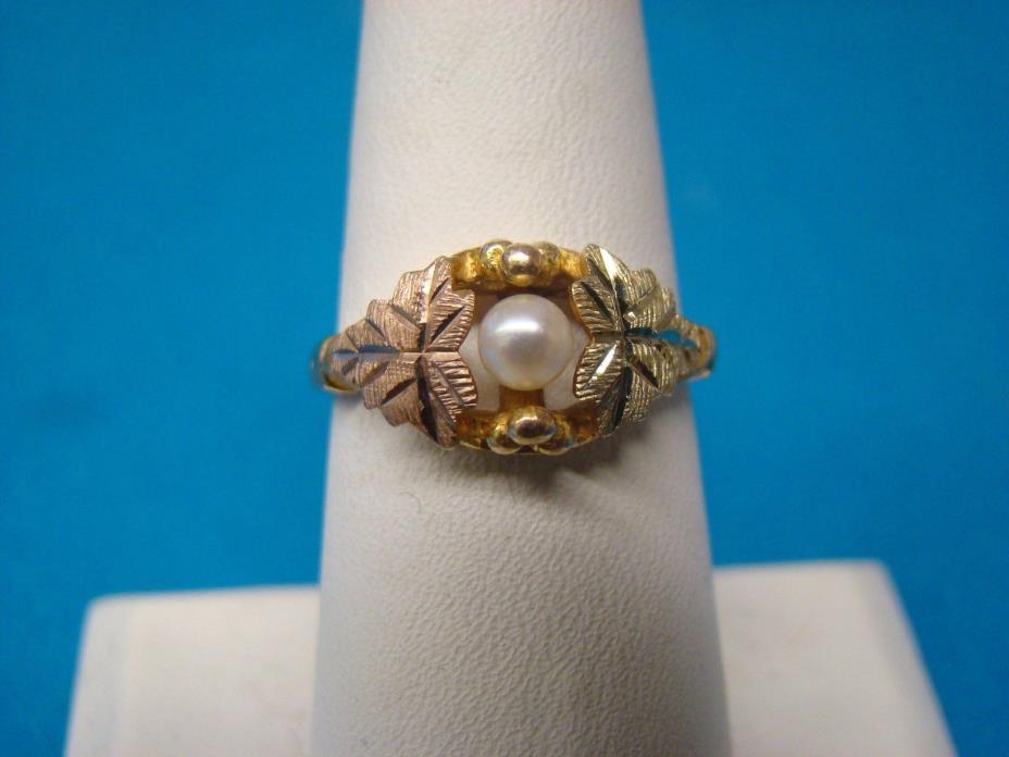 Landstrom Black Hills Gold Pearl Ring 10kt Tri-color Gold Size 7.75  7 3/4