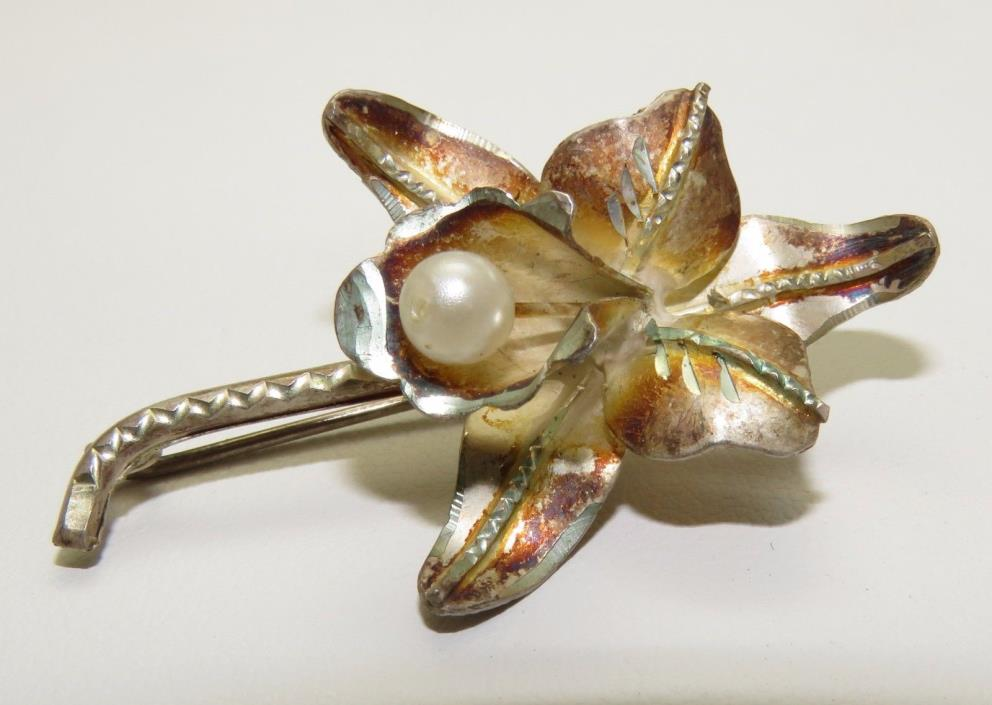Antique Handmade Sterling Silver Orchid Brooch Pin