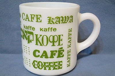 Vintage Milk Glass Mug with Multiple Languages Spelling Coffee Green 3 3/8