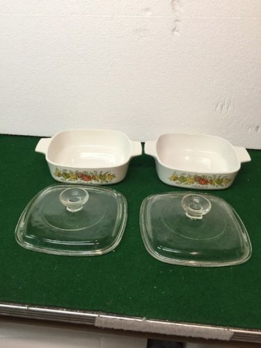 Lot of 2 Vintage Corning Ware Baking Dish Spice of Life A-1-B 1.0 Qt Made in USA