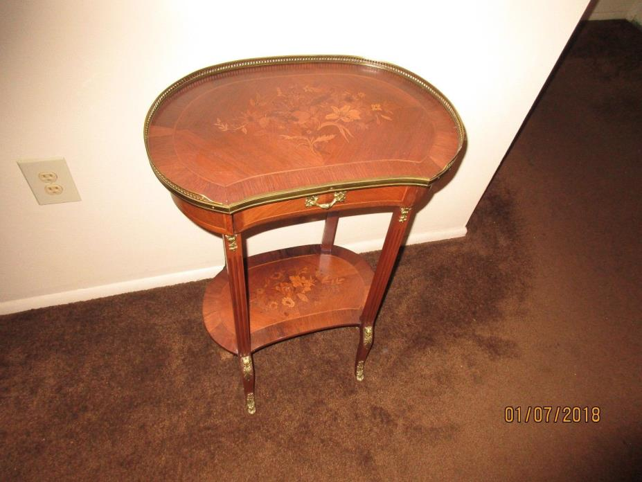 Antique French Louis XV Style Inlaid   Table
