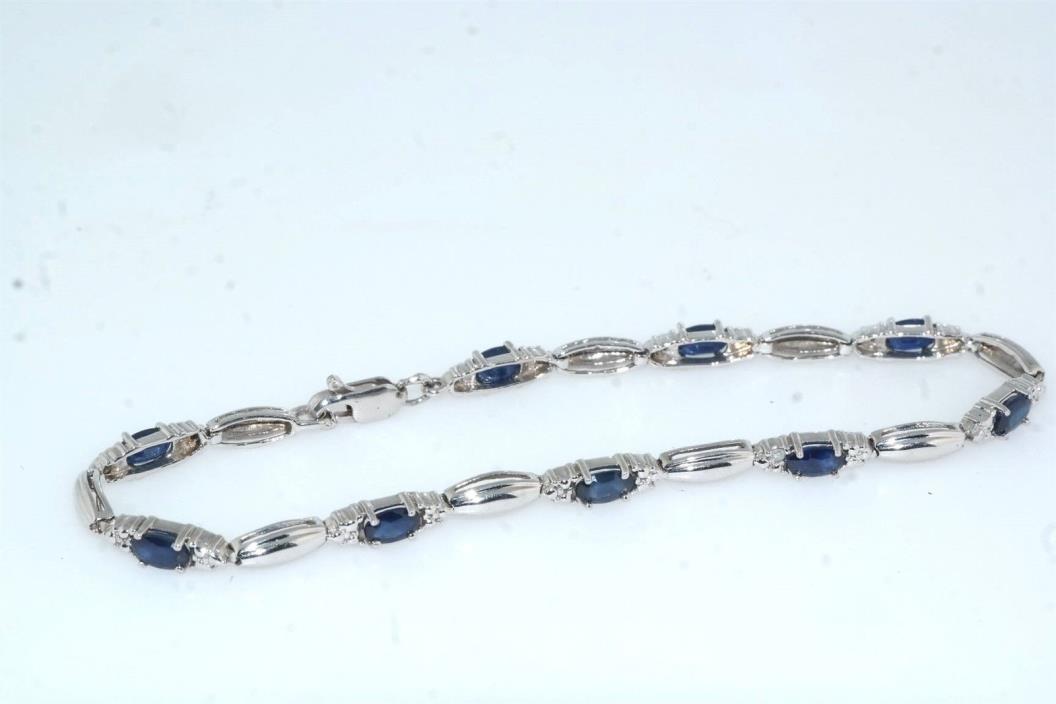 Sapphire 14k White Gold Link Bracelet