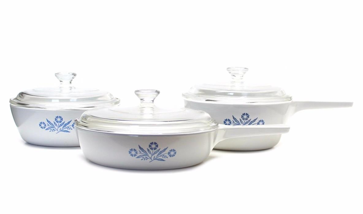 Set of 3 Corning Ware Blue Cornflower Skillet Pans P-83-B, P-82-B, P-81-B w/Lids