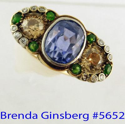 Antique Victorian Ring 6.10ct Sapphire 1.45ct Diamonds Demantoid Garnets (#5652)