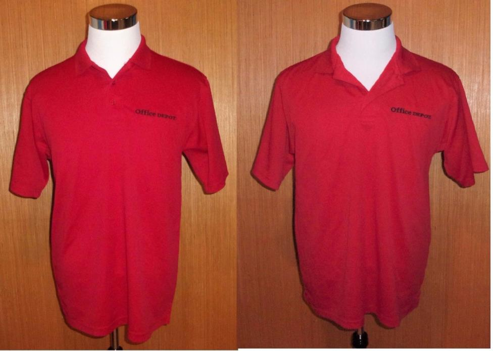 OFFICE DEPOT Red Employee Polo Shirt  Men's Size M Medium  Blue Pointe Lot of 2