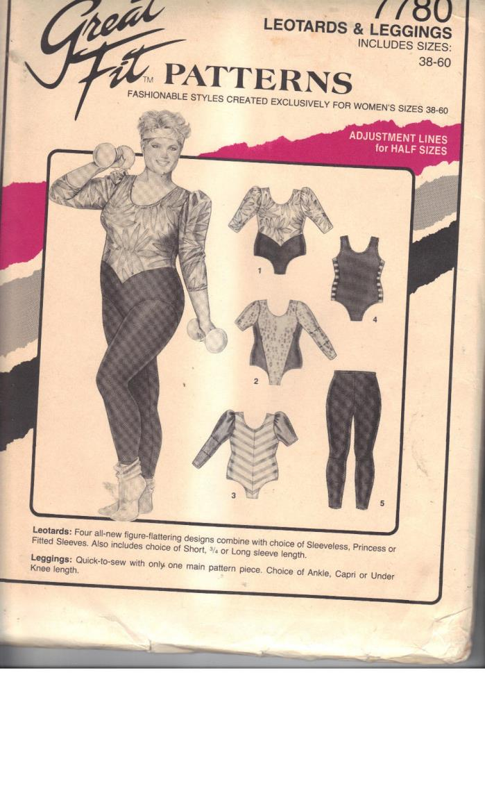 GREAT FIT Pattern 7780 Leotards & Leggings sizes 38-60 extra large sizes in one