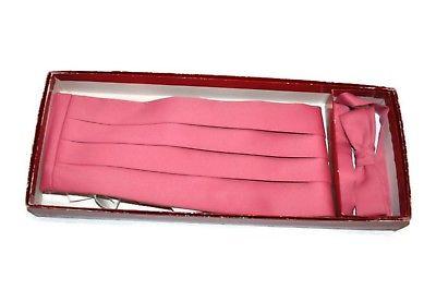 Vintage TUXEDO PARK Pink Bow Tie & Cummerbund Box Silk Skinny Bow Tie