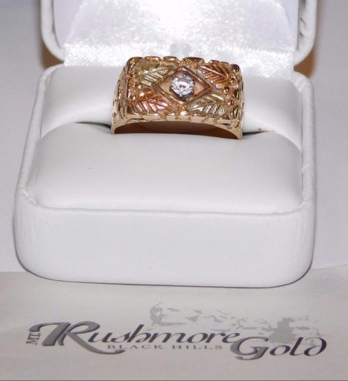 Black Hills Gold Unisex Cubic Zirconia Leaves Band Ring 10 kt 12 kt Size 10