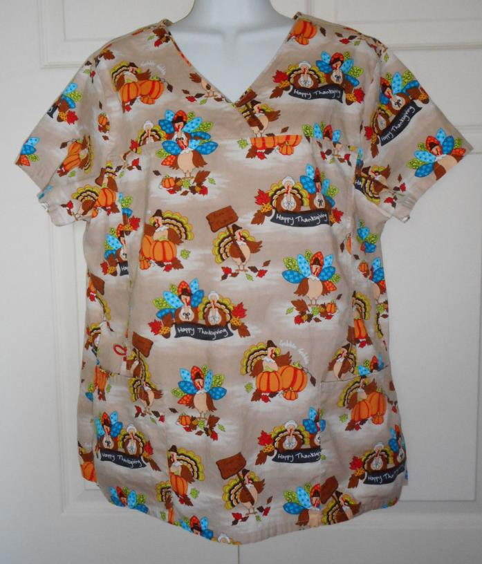 LARGE ScrubStar Happy Thanksgiving Holiday Scrub Top scrubs sz L pumpkin turkey