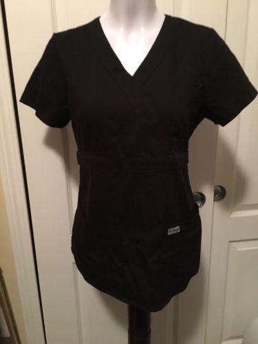 Grey's Anatomy Scrubs Top S small Black Nurse Medical Uniform Shirt by Barco