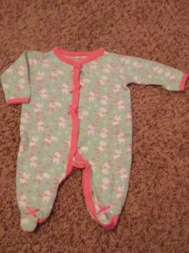 Baby girl 3 months footed cotton pajamas bunny easter