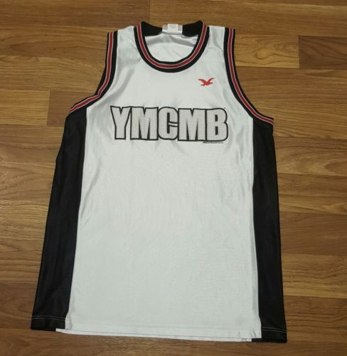 YMCMB YOUNG MONEY LIL WAYNE WHITE MEDIUM BASKETBALL JERSEY HIPHOP MADE IN USA
