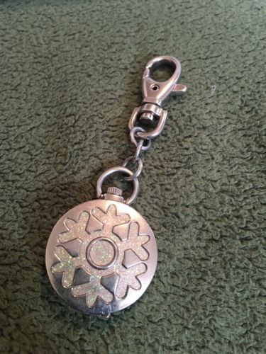 Collectible Vintage LOCKET WATCH Sparkely Snowflake Design Spring Snap Opening