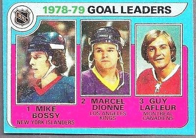 Hockey Goal Leaders Topps Card LaFleur Bossy Dionne 1978-79 Estate