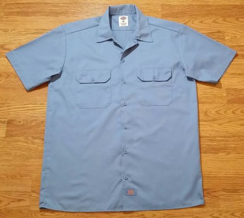 Dickies Button Up Work Shirt (Medium) Light Blue Color - Thick Material - EUC