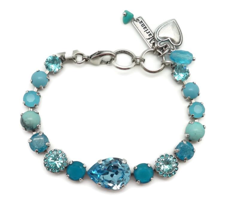 MARIANA Silver Swarovski Bracelet Aquamarine & Caribbean Blue Mix M1082 Zambezi