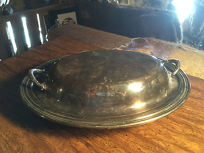 Vintage Oval Silver Casserole Covered Serving Dish/Tray