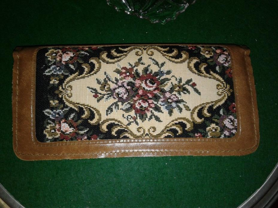 Vintage Travel Sewing Kit Floral Tapestry Faux Leather Snap Case Victory