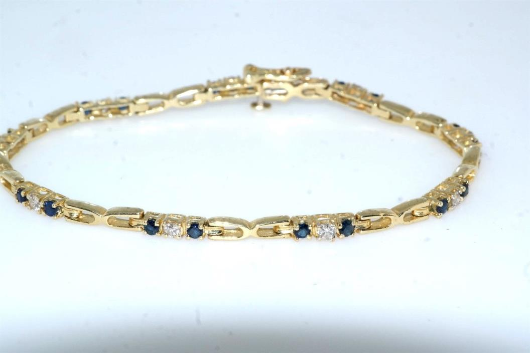 Diamond & Sapphire 14k Yellow Gold Link Bracelet 1.0 tcw