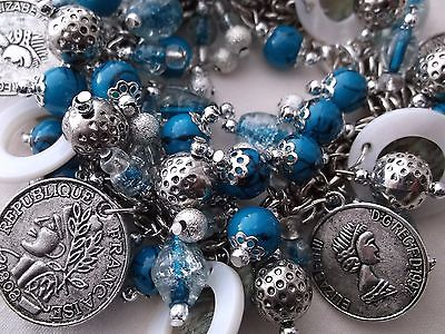 Charm Bracelet Beaded Faux Coins Bright Blue Turquoise Silver White Handcrafted
