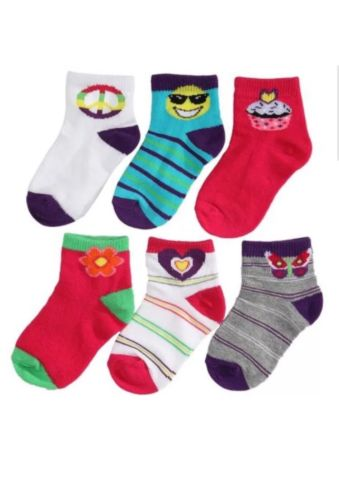 6 Pack INFANT Baby GIRLS LOW-CUT SOCKS Pink White Purple Floral Peace 0-6 Mths