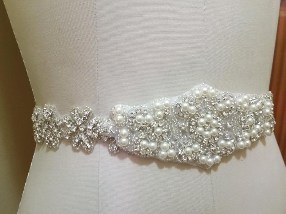 Wedding Bridal Sash Belt, Crystal Pearl Wedding Dress Sash Belt = 20