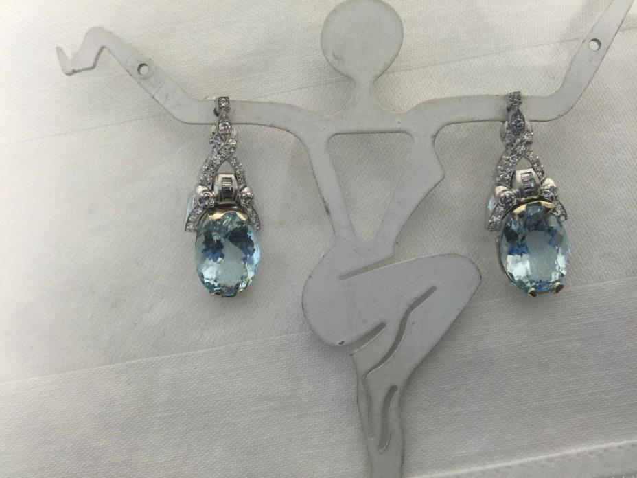 Antique 1950  18ct Natural Aqua Platinum Diamond Dangle Earrings