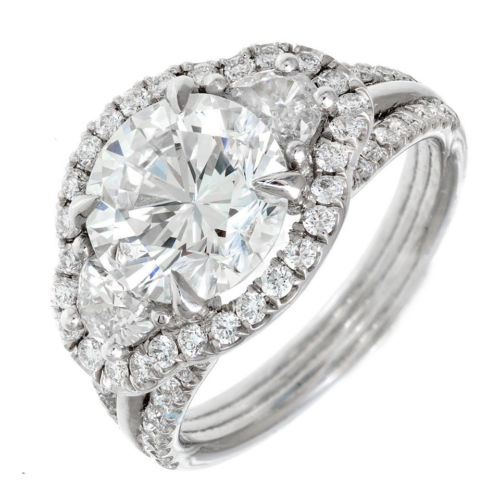 Halo Engagement 3.00ct Ideal Brilliant Platinum Half Moon Diamond Ring