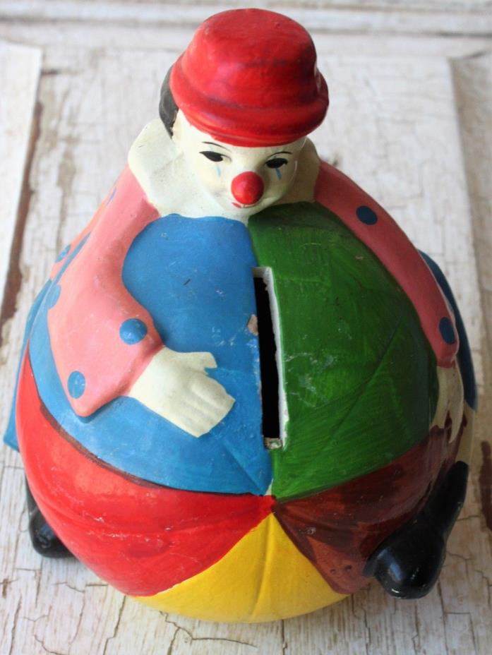 Vintage Ceramic CLOWN & BEACH BALL Bank Hand Painted Penny Bank