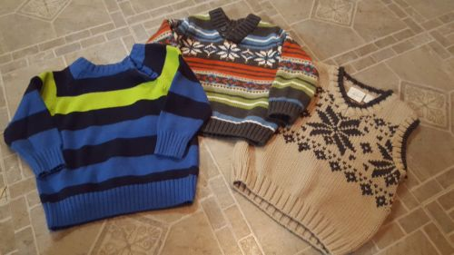 lot of 3 12-18 month baby boy sweaters sweater vest, browns blues multi color