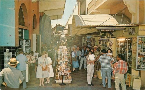 Tijuana BC Mexico~Curio Arcade~Mario's~Postcard Rack~Tabu~Swiss Watches~1960s