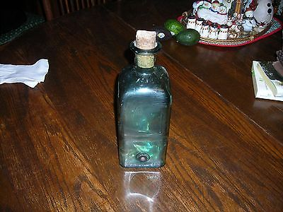 1-Antique 4-Sided Green Glass Laboratory Bottle!!!!!!!!
