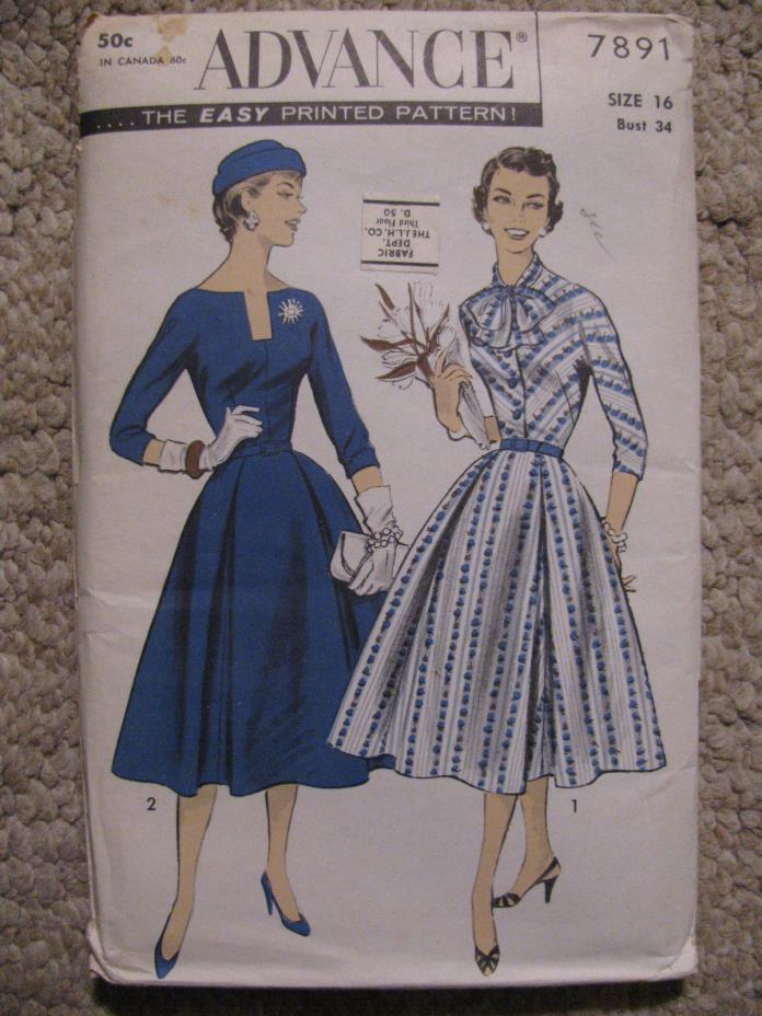 1956 Women's Dress with wide skirt Sewing Pattern Advance 7891 size 16/34