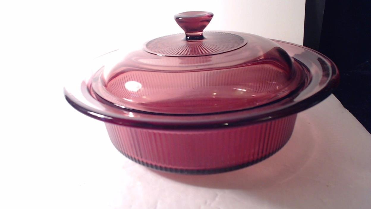 Corning Ware VISIONS Cranberry Casserole Dish w Lid 1 Quart Round Ribbed V-31-B