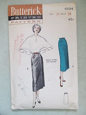 VINTAGE 1950's BUTTERICK PATTERN 5594 PENCIL SKIRT SIZE 28 waist