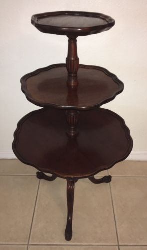 Rare Ball & Claw Mersman Antique Solid Red Mahogany Wood 3 Tier Pie Crust Table
