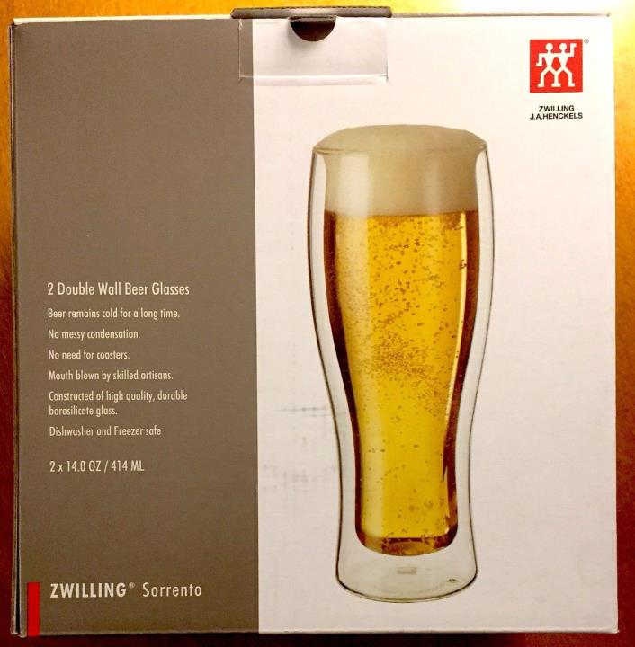 Zwilling Sorrento 2 Double-Wall Beer Glass Set - New in Box